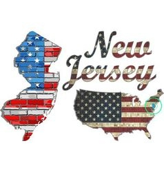 USA state of New Jersey on a brick wall vector image