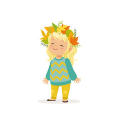 Beautiful blonde little girl in warm clothing and vector