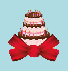 Birthday cake red bow party vector