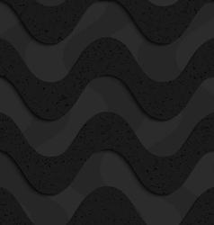 Black textured plastic horizontal waves layered vector image vector image