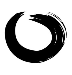 Brush ink paint circle stroke hand drawn curve vector