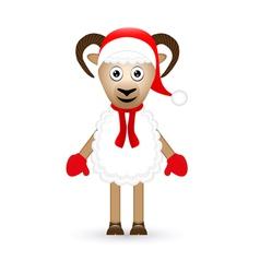 Christmas sheep on white background vector image