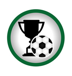 Circular frame with trophy with soccer ball vector
