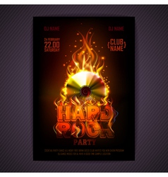 Disco poster fire Hard rock background vector image
