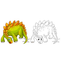 doodle animal outline of dinosaur vector image vector image