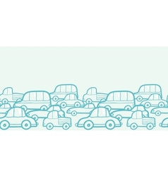 Doodle cars horizontal seamless pattern background vector image