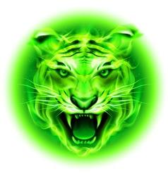 Fair tiger W Green 01 vector image
