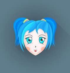 flat japanese cartoon manga girl head icon vector image