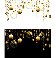 Glass christmas evening balls on a black and white vector