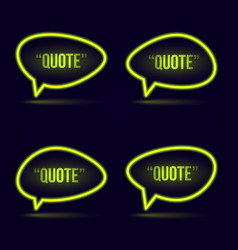 glowing neon speech bubble icon for text quote vector image vector image