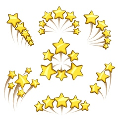 Golden stars design element set vector image vector image