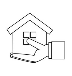 Hand holding house or home icon image vector