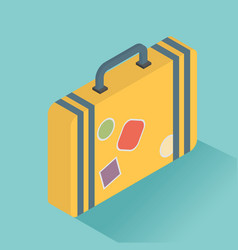 Isometric luggage symbol of flat color icon with vector