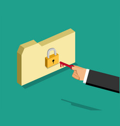 locked folder and business man with key vector image