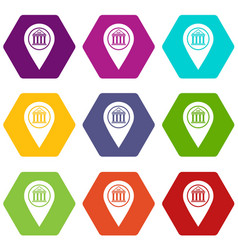 map pin icon set color hexahedron vector image
