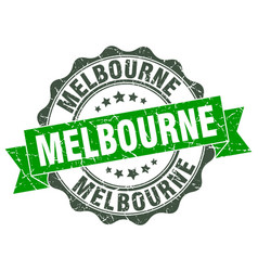 Melbourne round ribbon seal vector