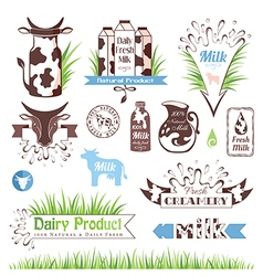 Milk labels badges and banners vector