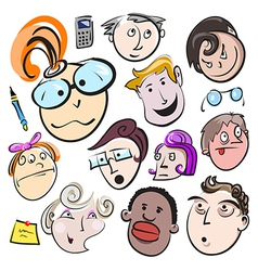 People face cartoon icon vector image