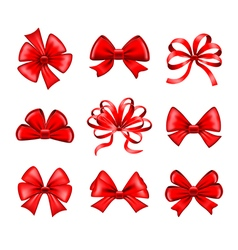 Red bows set vector image vector image