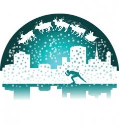 Santa and skater vector image vector image
