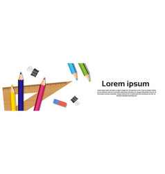 School writing supplies on white background with vector