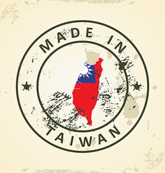 Stamp with map flag of Taiwan vector image