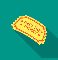 theatre ticket icon in flate style isolated on vector image
