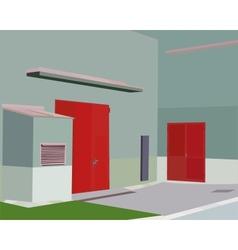 Twice the red door in the corner vector