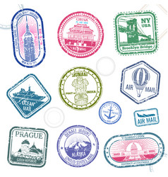 Vintage passport travel stamps with vector