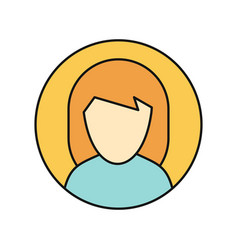Young woman private avatar icon vector