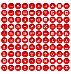 100 education technology icons set red vector