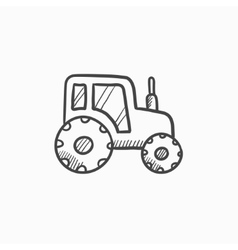 Tractor sketch icon vector