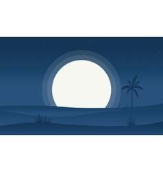 Silhouette of hill and full moon vector image