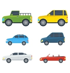 Passenger cars cartoon models collection vector