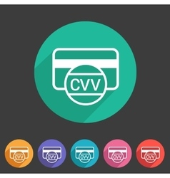 Cvv card security code credit icon flat web sign vector