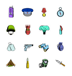 Military and war icons set cartoon vector