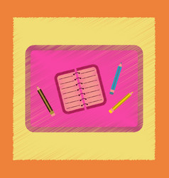 flat shading style icon notebook pencil table vector image