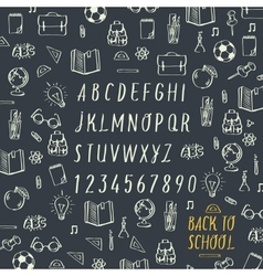 Schools hands draw chalk written font vector