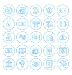 Line circle bitcoin icons vector
