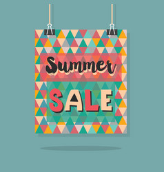 Abstract retro hanging summer sale message poster vector