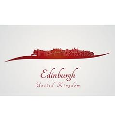 Edinburgh skyline in red vector