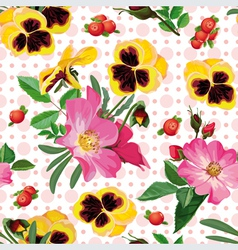 Seamless pattern of the roses the pansies and the vector