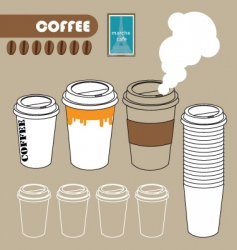 series of paper coffee cup vector image