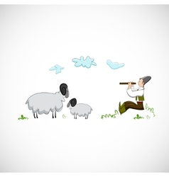 Shepherd plays the flute for sheep design vector