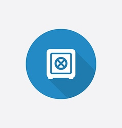Bank safe flat blue simple icon with long shadow vector