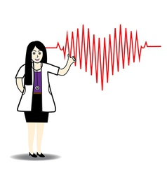 Doctor and red heart beats with cardiogram vector