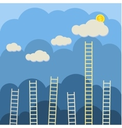 Steps to clouds vector
