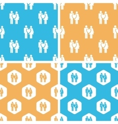 Love couple pattern set colored vector