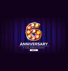 6 years anniversary banner sixth sixth vector