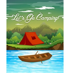 Camping ground with tent and boat vector